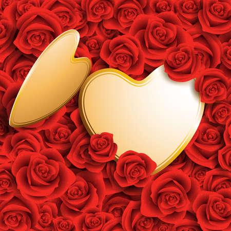 dating and romance: carta con il posto per il testo su rose rosse a forma di cuore Vettoriali