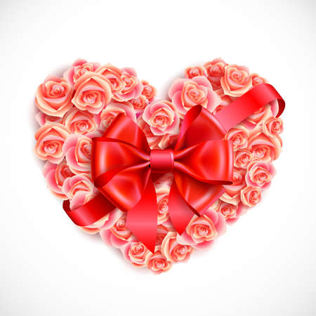 floral heart: heart of tender pink roses with red bow