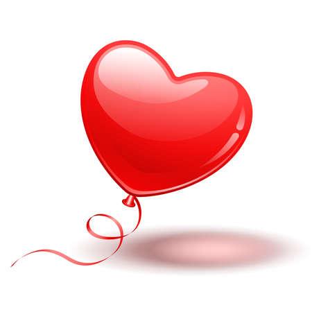 De rode ballon van de hartvorm op witte achtergrond