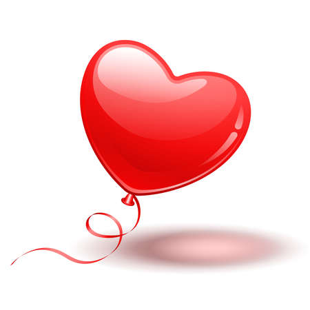 single object: Red Heart Shape Balloon on white background