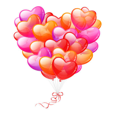 Colorful Heart Shaped Balloons on white background Vector