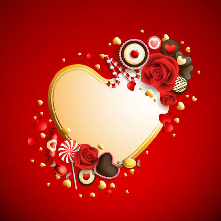 beautiful red and golden valentine`s day background Vector