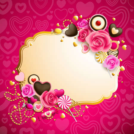 beautiful pink and golden valentine`s day background Vector