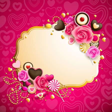 hermoso fondo de día de San Valentín de Rosa y oro