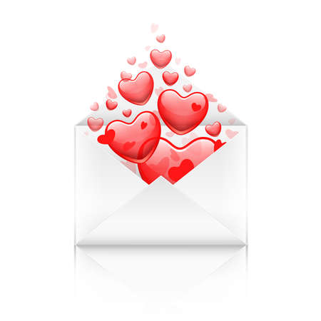 red packet: opened Valentine`s day envelope with red hearts
