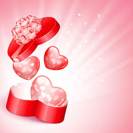 Red heart shape gift with light from inside Vector