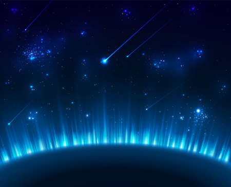 comet: Space background with blue light Illustration
