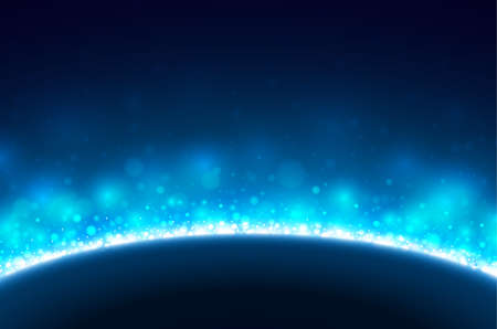 space background with blue light Vector Illustration
