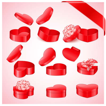 Valentine`s day collection of heart shaped gifts Stock Vector - 8698776