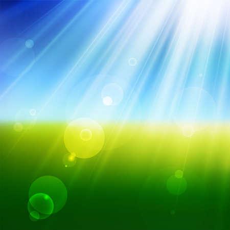 Vista de verano borrosa vectorial con luz solar