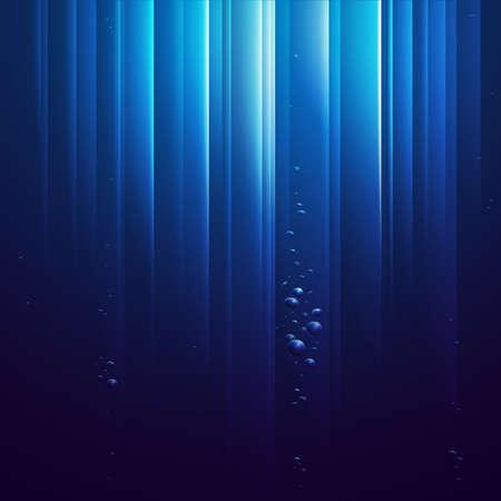 Océan bleu du dessous avec des bulles et des rayons de lumière