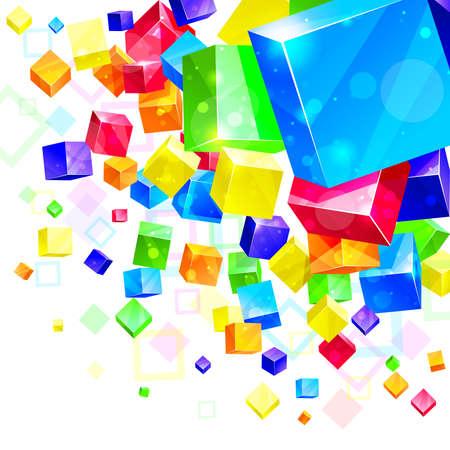 red cube: 3d astratto sfondo luminoso - illustrazione