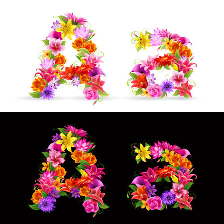 lowercase: A,   colorful flower font on white and black background. Illustration