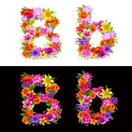 beautiful alphabet: B  colorful flower font on white and black background.  Illustration