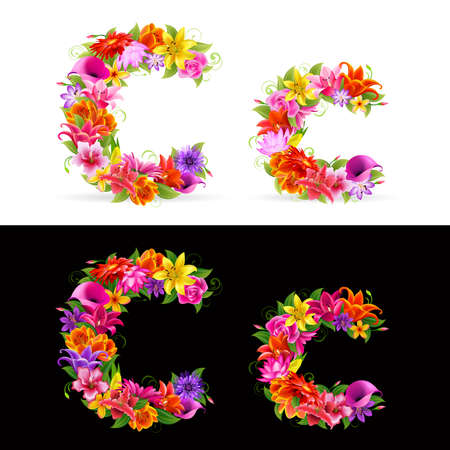 flower font: c,  colorful flower font on white and black background.