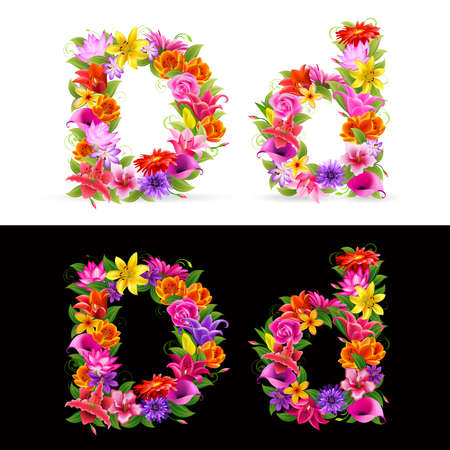 orange gerbera: D, colorful flower font on white and black background. Illustration