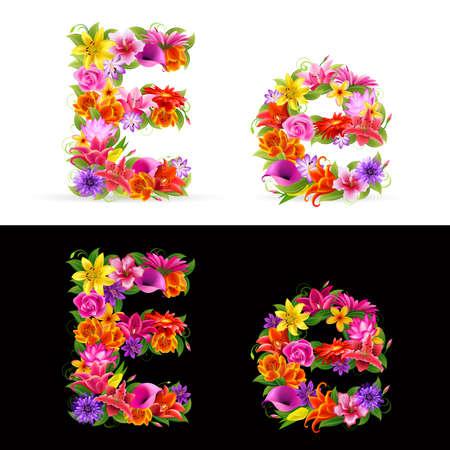 E, kleurrijke bloem lettertype op witte en zwarte achtergrond. Vector Illustratie
