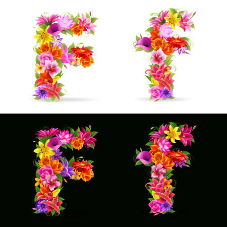 flower font: F,   colorful flower font on white and black background.