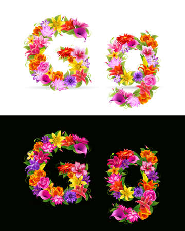 flower font: G,   colorful flower font on white and black background.