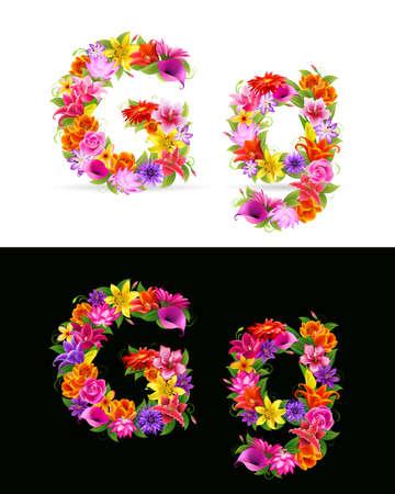 lily flower: G, kleurrijke bloem lettertype op witte en zwarte achtergrond.