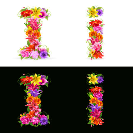 lowercase: I, colorful flower font on white and black background.