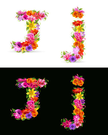 flower font: J,   colorful flower font on white and black background.