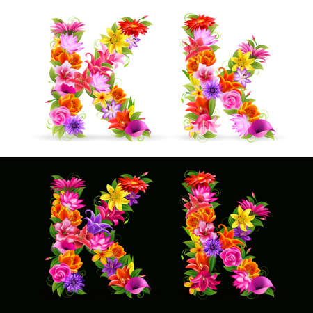 K,  colorful flower font on white and black background. Vector