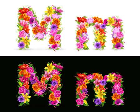 uppercase: Fuente de M, coloridas flores sobre fondo blanco y negro. Vectores