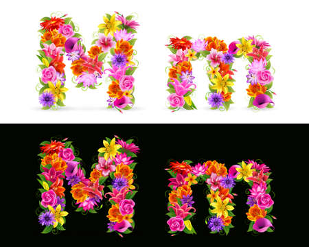 lowercase: M,   colorful flower font on white and black background.