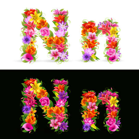 N,  colorful flower font on white and black background. Vector