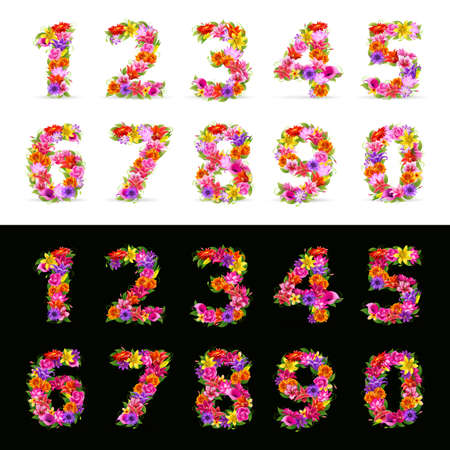 alphabet number: numbers,  colorful flower font on black and white Illustration