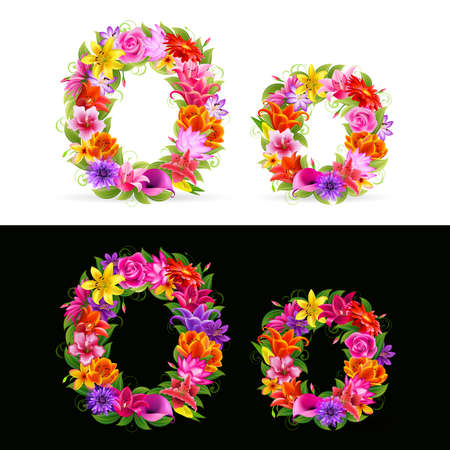 type font: O,   colorful flower font on white and black background. Illustration