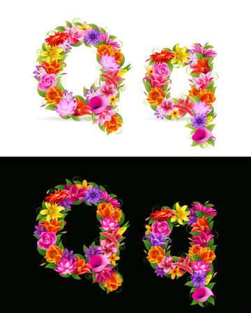 Q,   colorful flower font on white and black background. Vector