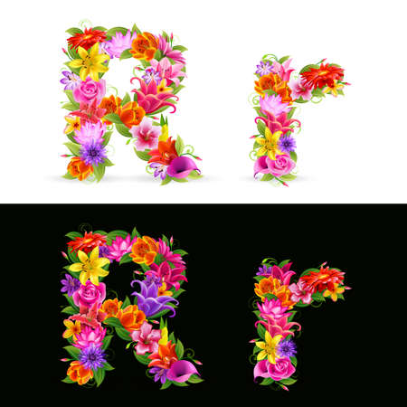 lowercase: R,  colorful flower font on white and black background. Illustration