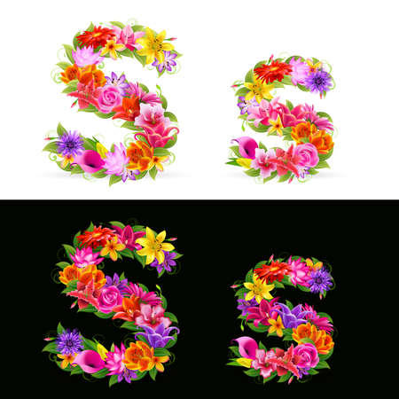 S, colorful flower font on white and black background. Vector