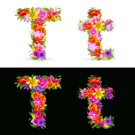 flower font: T,  colorful flower font on white and black background. Illustration
