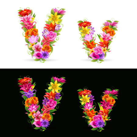 V,  colorful flower font on white and black background. Vector