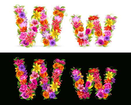 uppercase: Fuente de W, coloridas flores sobre fondo blanco y negro.