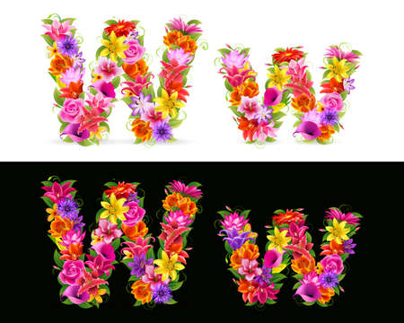 flower font: W,   colorful flower font on white and black background.