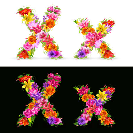 X,   colorful flower font on white and black background. Vector