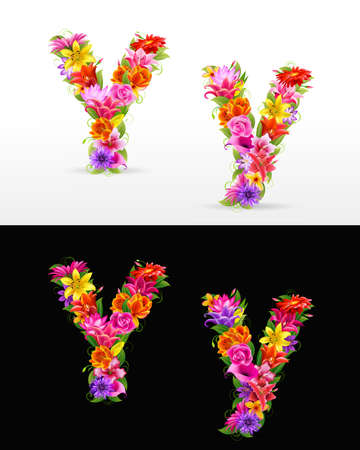 orange flower: Y,  colorful flower font on white and black background.