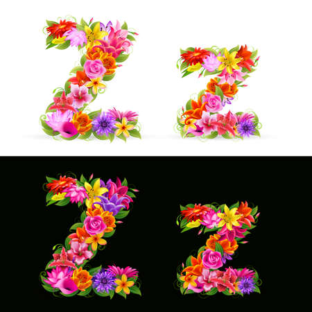 lowercase: Z,  colorful flower font on white and black background.