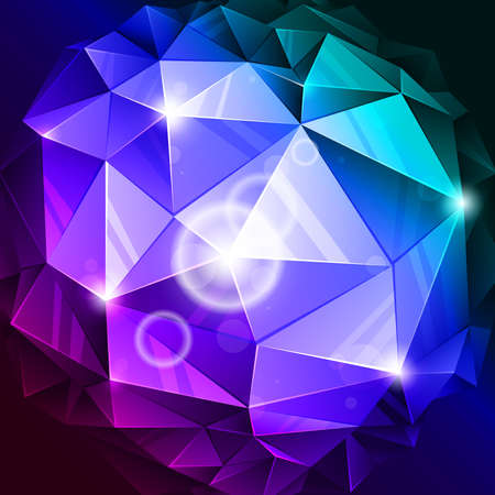 vector rumpled abstract sphere with blue and lilac colors Vector