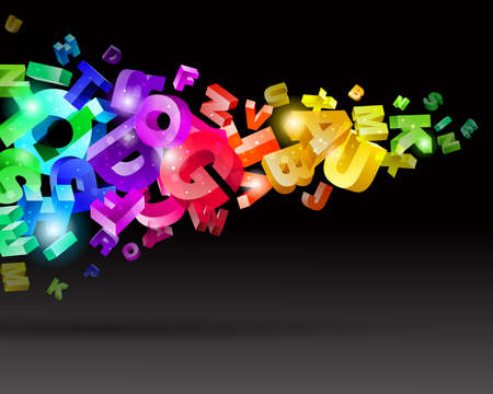 grope: Abstract flow with rainbow letters vector illustration  Illustration