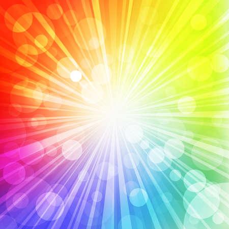 raggi di luce: Sun con raggi su sfondo arcobaleno offuscata. Illustrazione vettoriale.