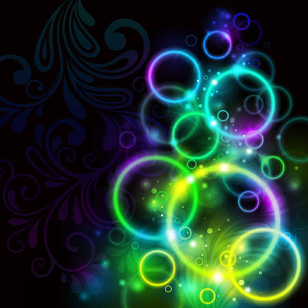 abstract glowing background with rings on black. Vector illustration Vector