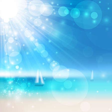 seacoast: Vector Blurry seaside view with sun rays. Vector illustration Illustration