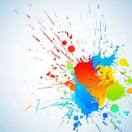 place for text: Colorful bright ink splashes with place for text. Vector illustration Illustration
