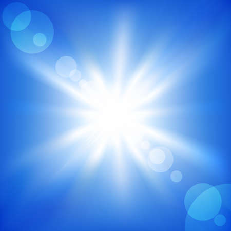 Sun on a blue sky. Vector illustration Stock Vector - 8783885
