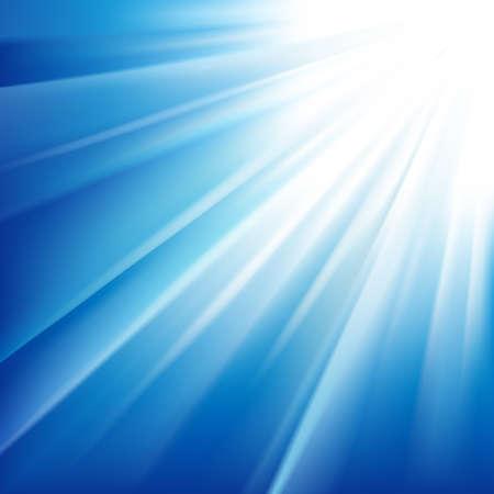 rayos de sol: Sol en un cielo azul. Ilustración vectorial Vectores